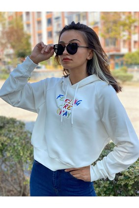Beyaz Feeling Are Okay Crop Sweatshirt