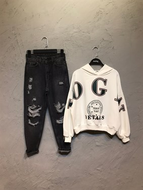 Beyaz Login Crop Sweatshirt
