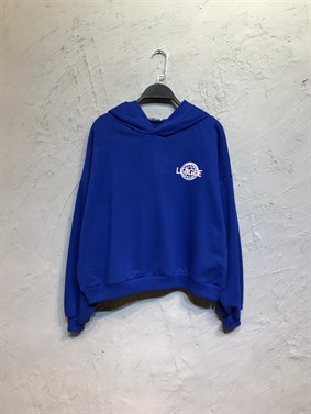 Mavi League Sırt Baskı Sweatshirt