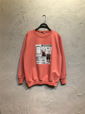 Pudra Gazete Baskı Sweatshirt