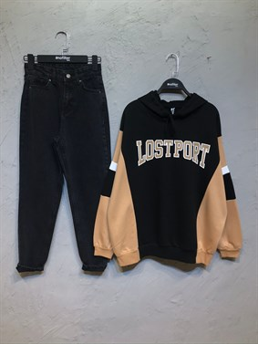 Siyah Lost Port Sweatshirt
